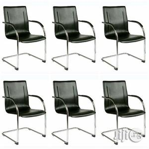 Set Of 6 Leather Conference Non-swivel Office Chair - Black | Furniture for sale in Lagos State, Alimosho