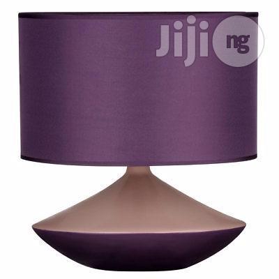 Premier Housewares Table Lamp, Purple, Ceramic, Fabric Shade