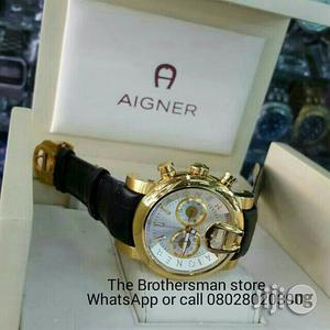 Aigner Geniune Leather Strap Chronograph Watch | Watches for sale in Lagos State, Surulere