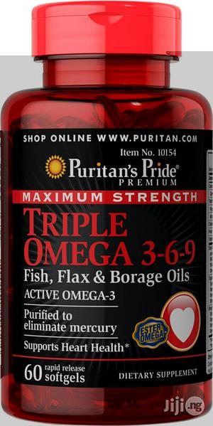Triple Omega 3-6-9 Fish Oil for Healthy Heart, Eyes, Brain | Vitamins & Supplements for sale in Lagos State, Lekki