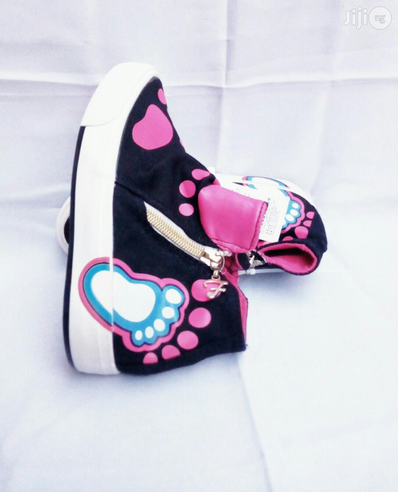 Archive: Black and Pink High Top Sneakers for Girls
