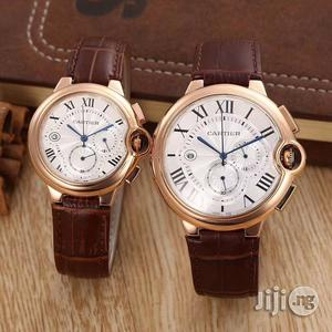 Cartier Chronograph Couple Leather Wristwatch   Watches for sale in Lagos State, Oshodi