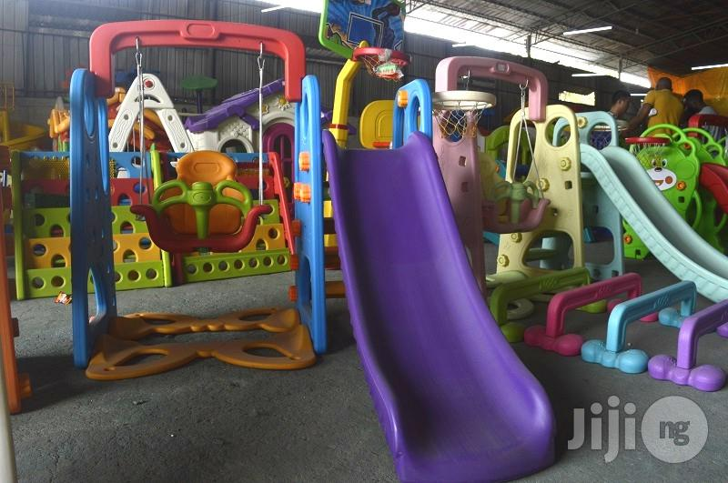 Kids Playground Slide With Protected Swing