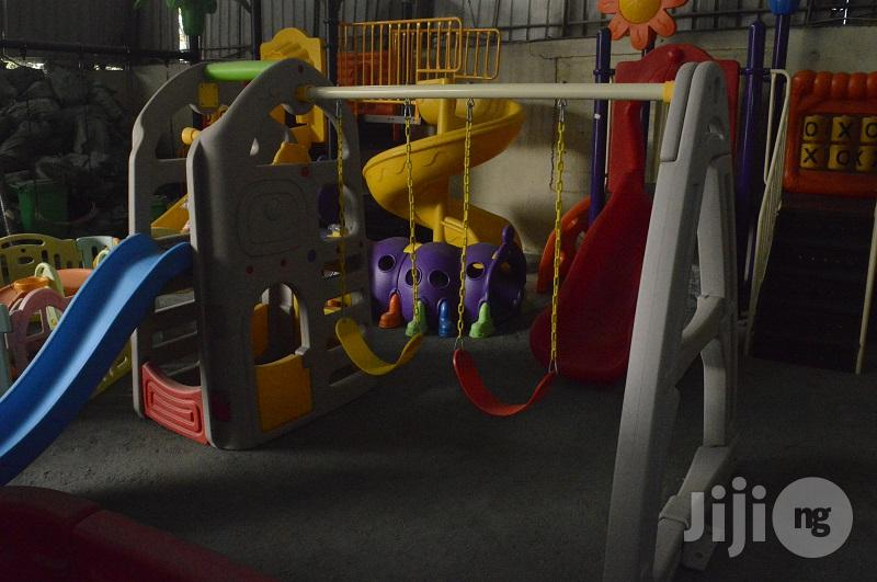 Outdoor Playground Equipment With Double Swing & Slide