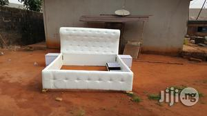 White Leather Covered Bed | Furniture for sale in Edo State, Benin City