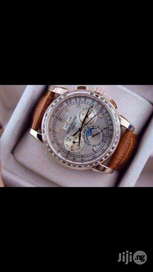 PATEK PHILIPPE Geneve Swiss Made Genuine Leather Strap Chronograph Watch | Watches for sale in Lagos State, Surulere
