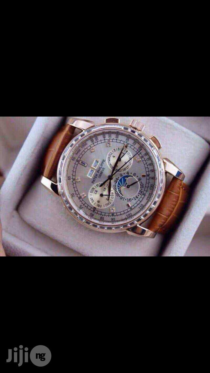 PATEK PHILIPPE Geneve Swiss Made Genuine Leather Strap Chronograph Watch