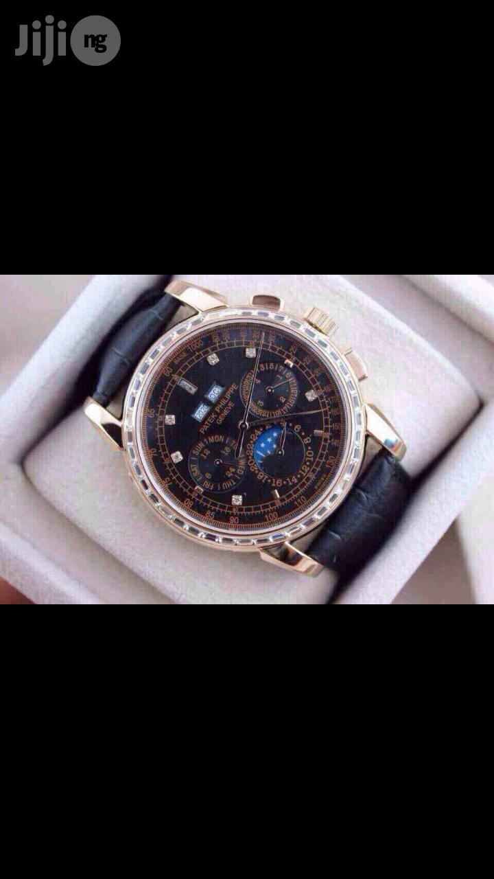 PATEK PHILIPPE Geneve Swiss Made Genuine Leather Strap Chronograph Watch | Watches for sale in Surulere, Lagos State, Nigeria