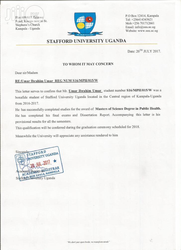 Public Health Officer | Healthcare & Nursing CVs for sale in Nasarawa-Kano, Kano State, Nigeria