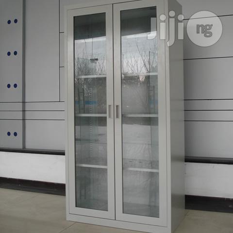 Full Height Glass Door Steel Cabinet
