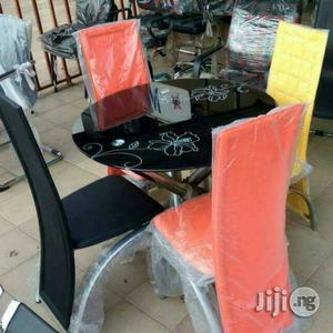 Round Glass Dinning Table by 4 Chairs | Furniture for sale in Lagos State