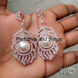 Crystal Encrusted Pearl Earrings   Jewelry for sale in Lagos State, Ikorodu