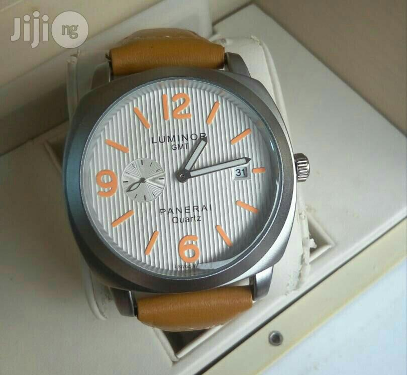 Luminor (GMT) Silver Leather Strap Watch