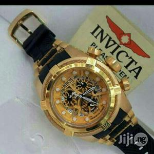 Invicta Chronograph Gold Rubber Strap Watch | Watches for sale in Lagos State, Lagos Island (Eko)
