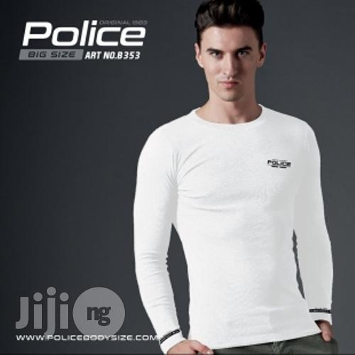 Police B.353 Bigsize White Large Printed Long Sleeve T-shirt