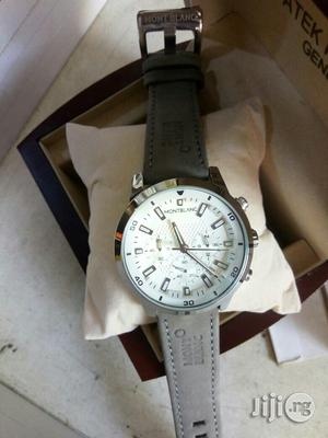 Montblanc Chronograph Silver Leather Strap Watch | Watches for sale in Lagos State, Lagos Island (Eko)