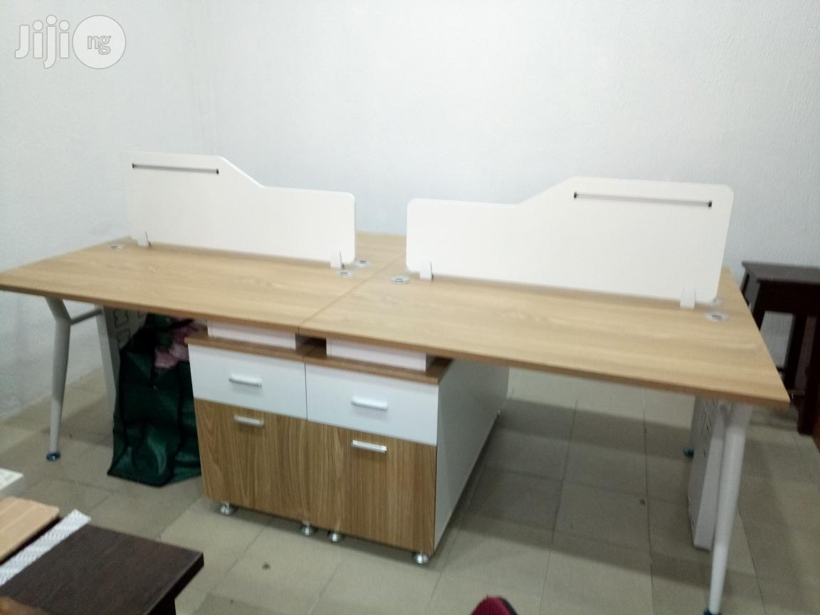 4 Man Wood Workstation With Metal Legs