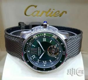 Cartier Silver Leather Strap Watch | Watches for sale in Lagos State, Lagos Island (Eko)