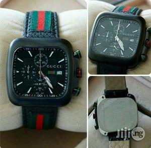Gucci Chronogragh Genuine Leather Strap Watch | Watches for sale in Lagos State, Surulere