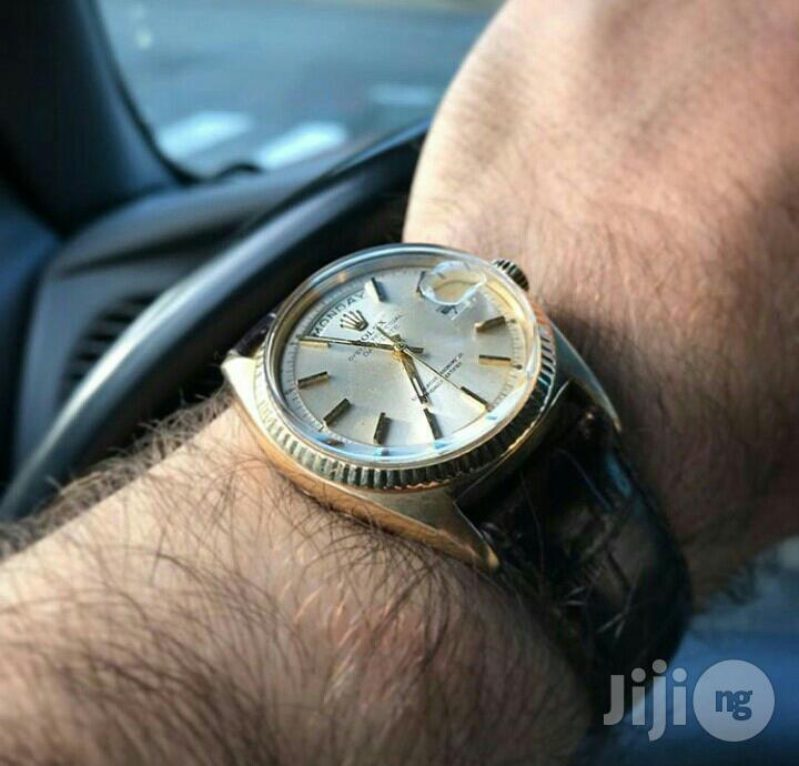 Rolex Oyster Perpetual Gold Leather Strap Watch