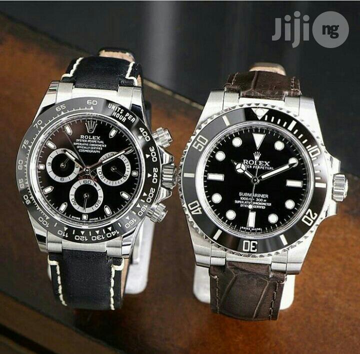 Rolex Daytona Silver Leather Strap Watch