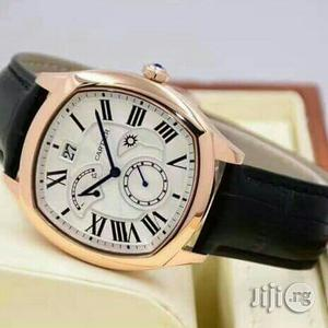 Cartier Chronograph Rose Gold Leather Strap Watch for Unisex | Watches for sale in Lagos State, Lagos Island (Eko)