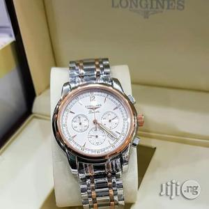 Longines Chronograph Rose Gold/Silver Chain Watch | Watches for sale in Lagos State, Lagos Island (Eko)