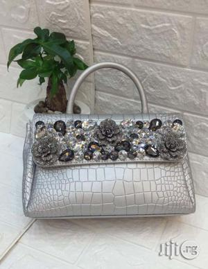 6573L Silver Stone Leather Bag | Bags for sale in Lagos State, Surulere