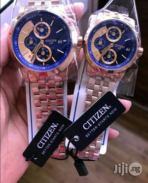Citizen Chronograph Rose Gold Blue Face Chain Watch for Couples | Watches for sale in Lagos State, Lagos Island (Eko)