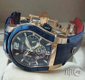 Aigner Chronograph Genuine Leather Strap Watch | Watches for sale in Lagos State, Surulere