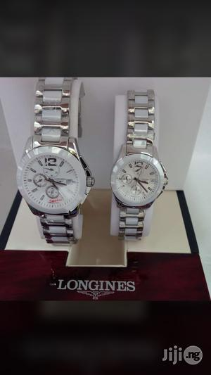 Longines Couples Silver Whiteceramic Chain Chronograph Watch | Watches for sale in Lagos State, Surulere