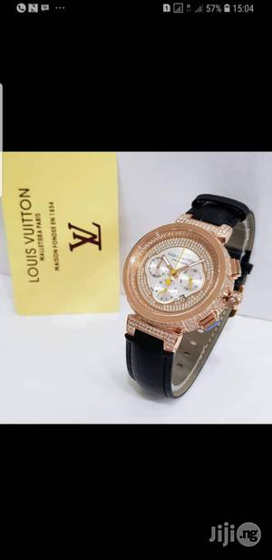 Luis Vuitton Ice Studded Chronograph Leather Strap Watch | Watches for sale in Lagos State, Surulere