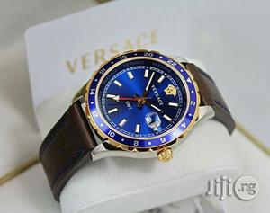 Versace Rose Gold/Silver Blue Face Leather Strap Watch | Watches for sale in Lagos State, Lagos Island (Eko)