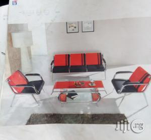 5 Seater Sofa Chair (Orange Black Leather)   Furniture for sale in Lagos State, Ojodu