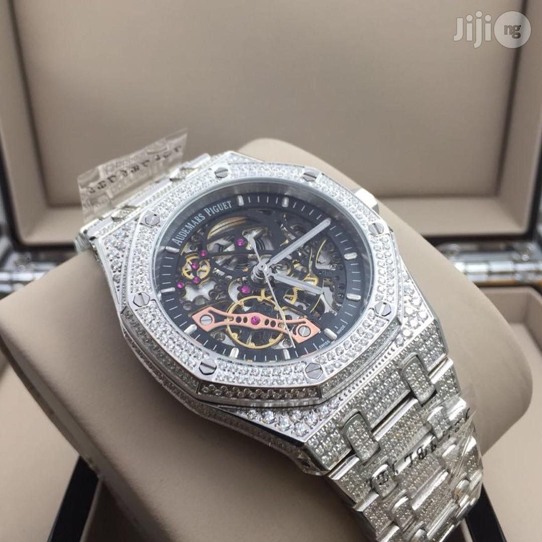 AUDEMARS Piguet Ice Studded Chain Mechanical Transparent Engine Stainless Steel Watch