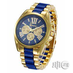 Geneva Rhinestone Wrist Watch - Gold and Black, Blue White Strap | Watches for sale in Lagos State, Ikeja