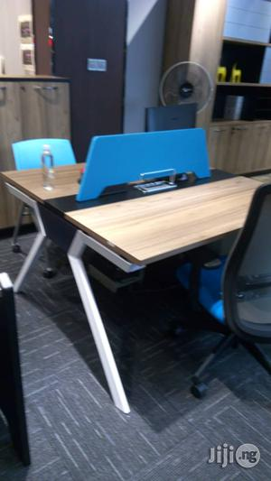 Wood Color And Blue 2 Man Workstation With Metal Legs   Furniture for sale in Lagos State, Victoria Island