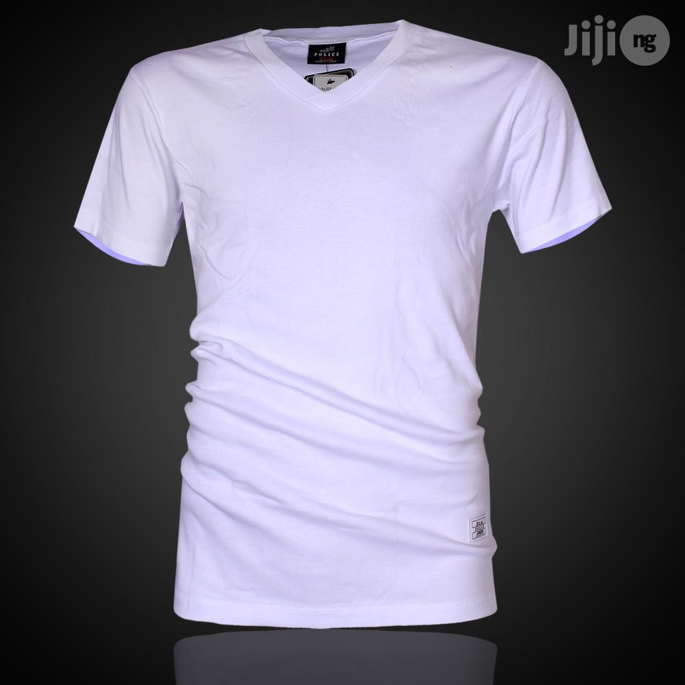 Police B.011 Bigsize Plain White Large Short Sleeve T-Shirt
