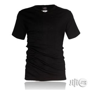 Police B.011 Bigsize Plain Black Large Short Sleeve T-shirt | Clothing for sale in Lagos State, Surulere