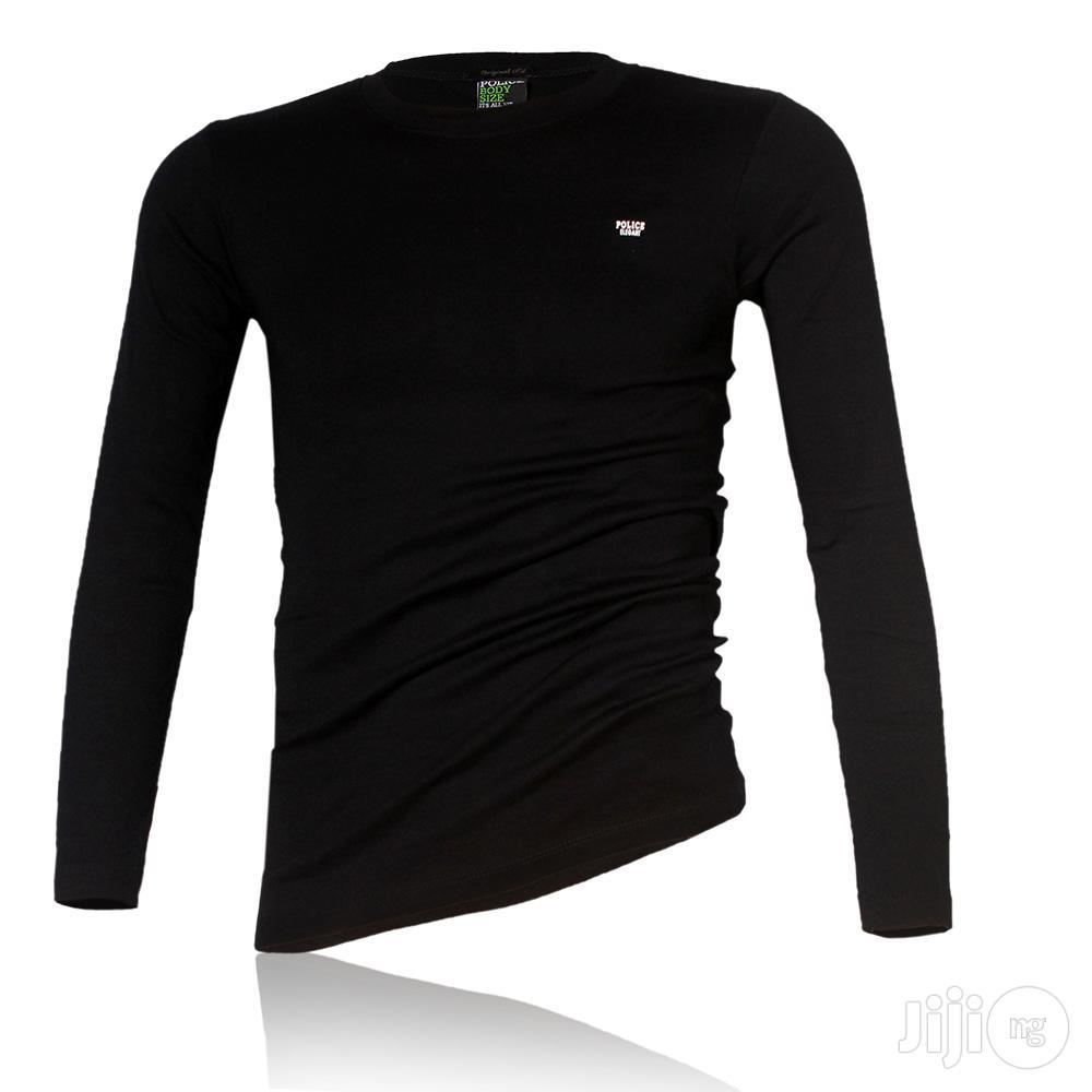 Police B.015 Xtrasize Plain Black Large Long Sleeve T-shirt