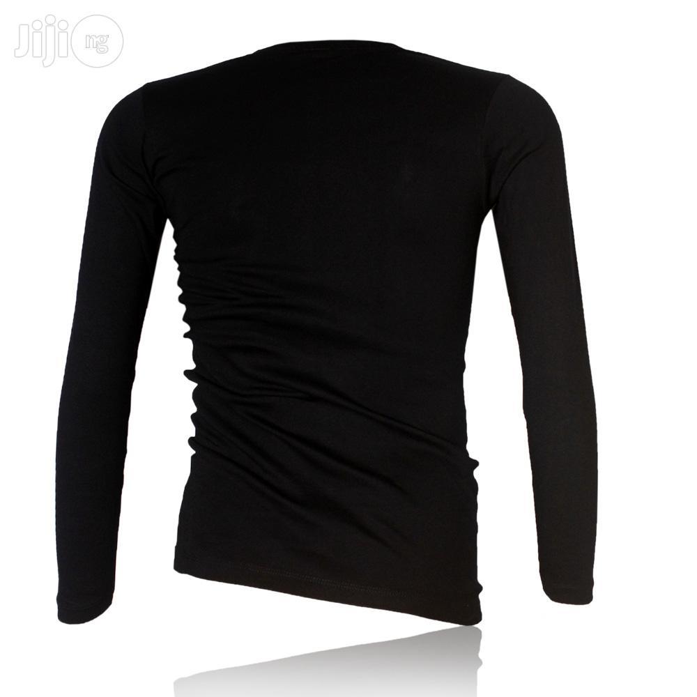 Police B.015 Xtrasize Plain Black Large Long Sleeve T-shirt | Clothing for sale in Surulere, Lagos State, Nigeria