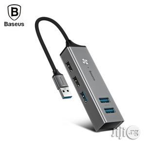 BASEUS 5 USB Ports USB Hub Type-c To USB3.0 X 3 + USB2.0 X 2 Hub Adapter Converter - Dark Grey | Accessories & Supplies for Electronics for sale in Lagos State, Ikeja
