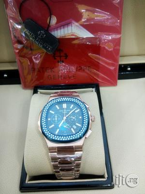 Patek Philippe Rose Gold Chronograph Ice Head Blue Face Chain Watch | Watches for sale in Lagos State, Lagos Island (Eko)