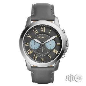 Fossil Chronograph Silver Leather Strap Watch | Watches for sale in Lagos State, Lagos Island (Eko)