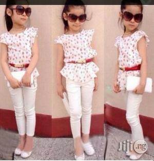 Girls 2set Top and Trouser With Belt   Children's Clothing for sale in Lagos State, Surulere
