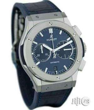 Hublot Chronograph Silver Leather Strap Watch | Watches for sale in Lagos State, Lagos Island (Eko)