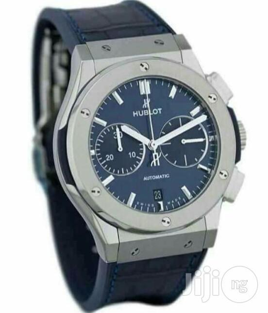 Hublot Chronograph Silver Leather Strap Watch