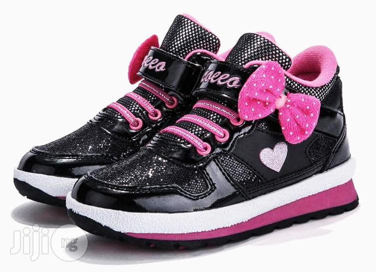 Beautiful Black and Pink High Top Canvas Sneakers for Girls