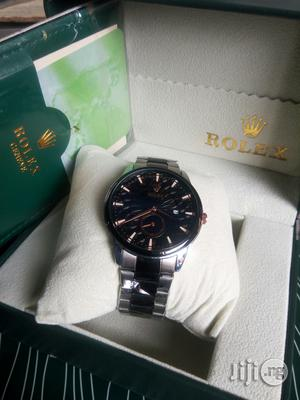 Rolex-Date Silver/Black Chain Watch | Watches for sale in Lagos State, Lagos Island (Eko)