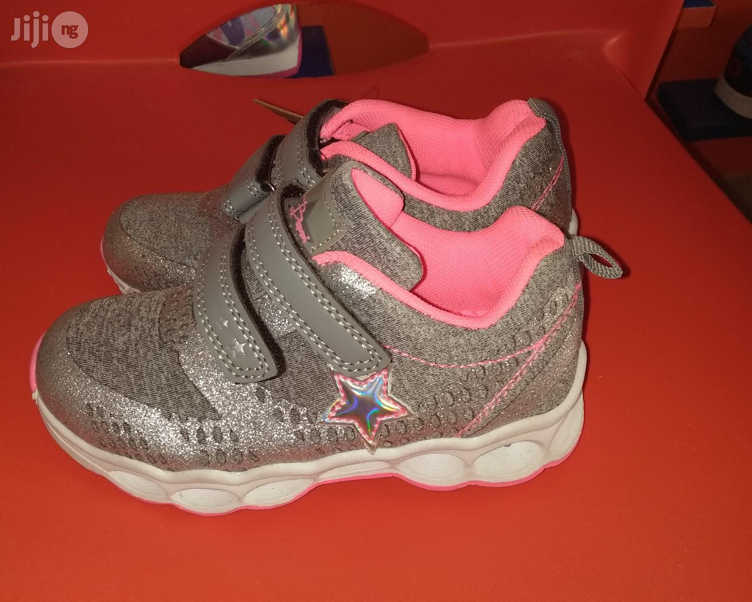 Ash and Pink Canvas Sneakers for Girls